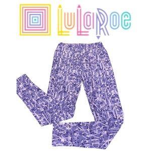 LuLaRoe Purple Print OS Leggings - NWT